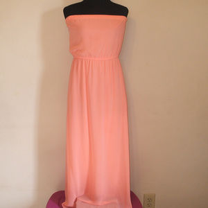 Peach Strapless Goddess Maxi Dress
